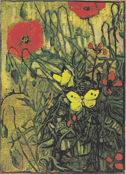 Poppies and Butterflies by Vincent Van Gogh. Source: wikipedia